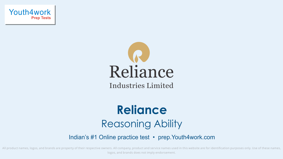 Sample Papers, Model Test Papers, RELIANCE, RELIANCE Company, RELIANCE Hiring, RELIANCE jobs, RELIANCE Questions, RELIANCE Recruitment, RELIANCE Careers, RELIANCE online test, RELIANCE Interview question, RELIANCE mock test, RELIANCE preparation test, reasoning ability test series