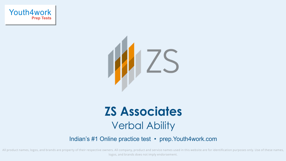 verbal ability mock test for ZS Associates, ZS Associates verbal ability practice test, ZS Associates placement verbal ability test, ZS Associates placement aptitude test, ZS Associates verbal ability practice test, verbal ability model test, verbal ability sample paper, verbal ability questions