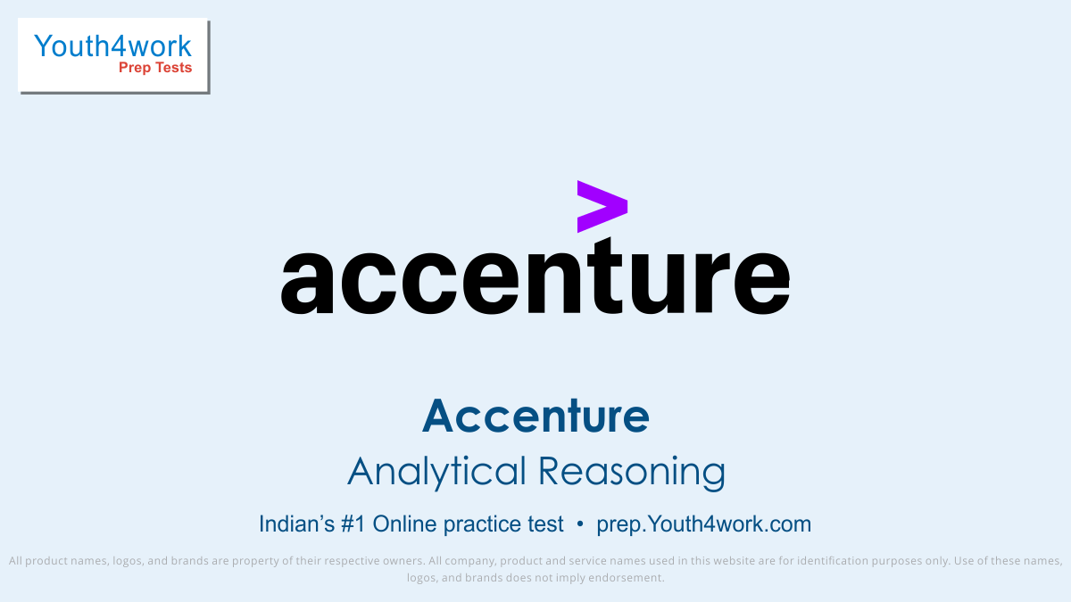 Accenture, Accenture exam, Accenture interview questions, Accenture test pattern, Accenture quantitative aptitude test, Free Sample paper, Accenture Syllabus, Accenture Mock test, Accenture placement, Accenture recruitment detail, online test, Accenture test preparation series, Analytical Reasoning
