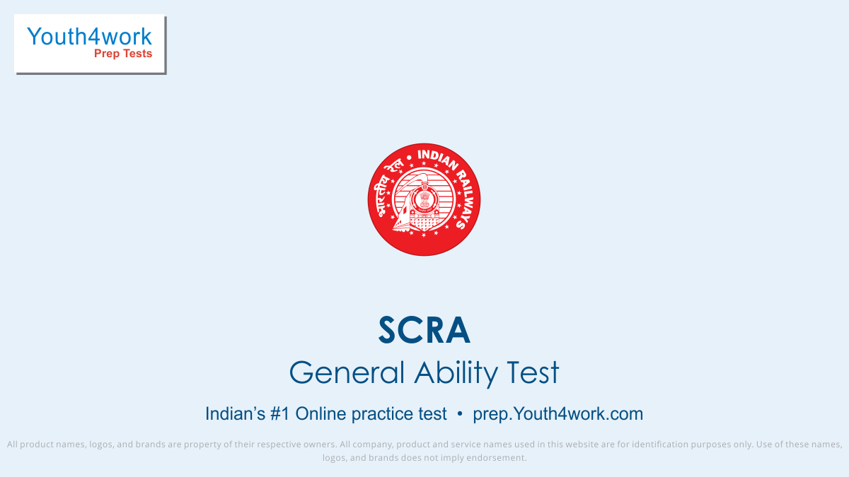 scra general ability mock test, scra online general awareness papers, free scra online mock test, scra mock test, scra practice papers, solve scra papers, railway recruitment board, general ability questions with answers
