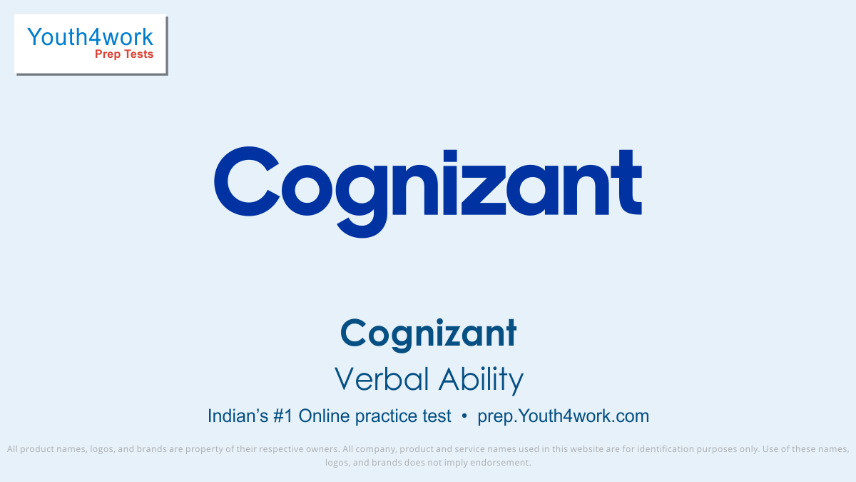 verbal ability questions with solutions, verbal ability sample questions for cognizant recruitment, verbal ability preparations for cognizant, verbal ability practice test for cognizant, free verbal ability mock test for cognizant recruitment