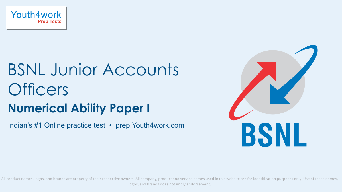 BSNL Junior Accounts Officers, bsnl jao mock test, bsnl mock test, bsnl jao, online test, exam preparation, bsnl jao exam pattern, syllabus, online test, previous year papers, question paper, question bank