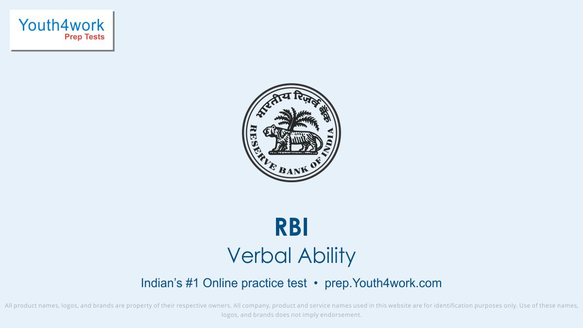 RBI Careers, RBI Career Test, RBI, RBI Vacancy, RBI Recruitment, RBI Question paper, RBI Exam pattern, RBI Practice paper, RBI mock Test series, RBI free test papers, RBI paper pattern, RBI last year question paper, RBI model test paper, Verbal Ability test series