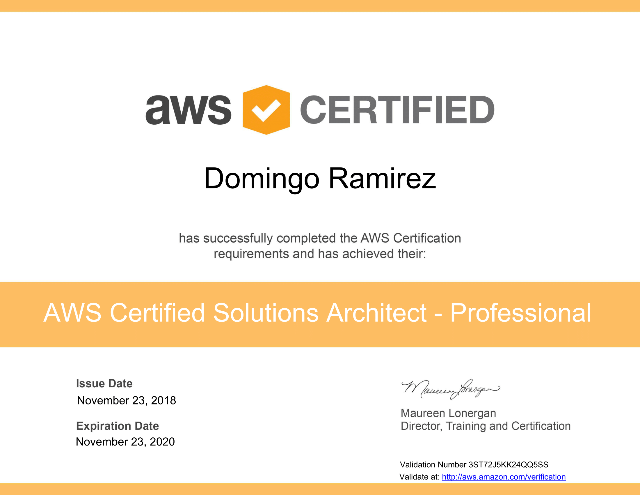 AWS Certified Solutions Architect - Professional certificate-1