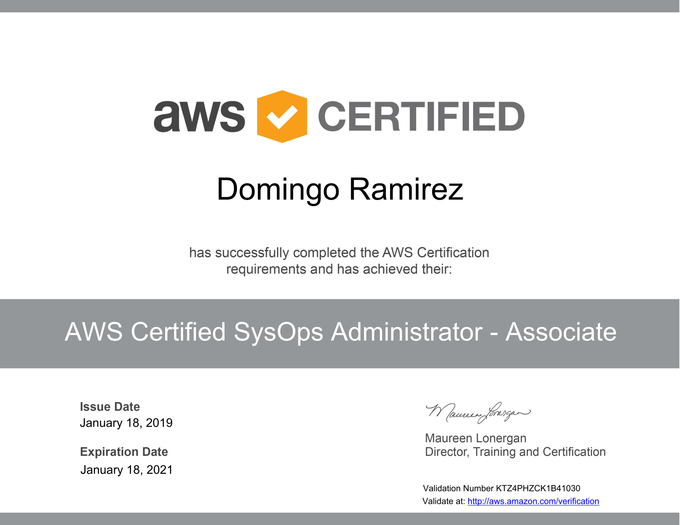 AWS Certified SysOps Administrator - Associate certificate-1