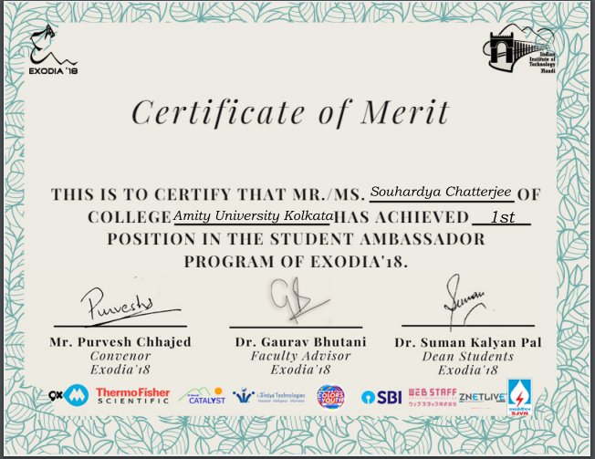 Certificate of Merit from IIT Mandi, Himachal Pradesh