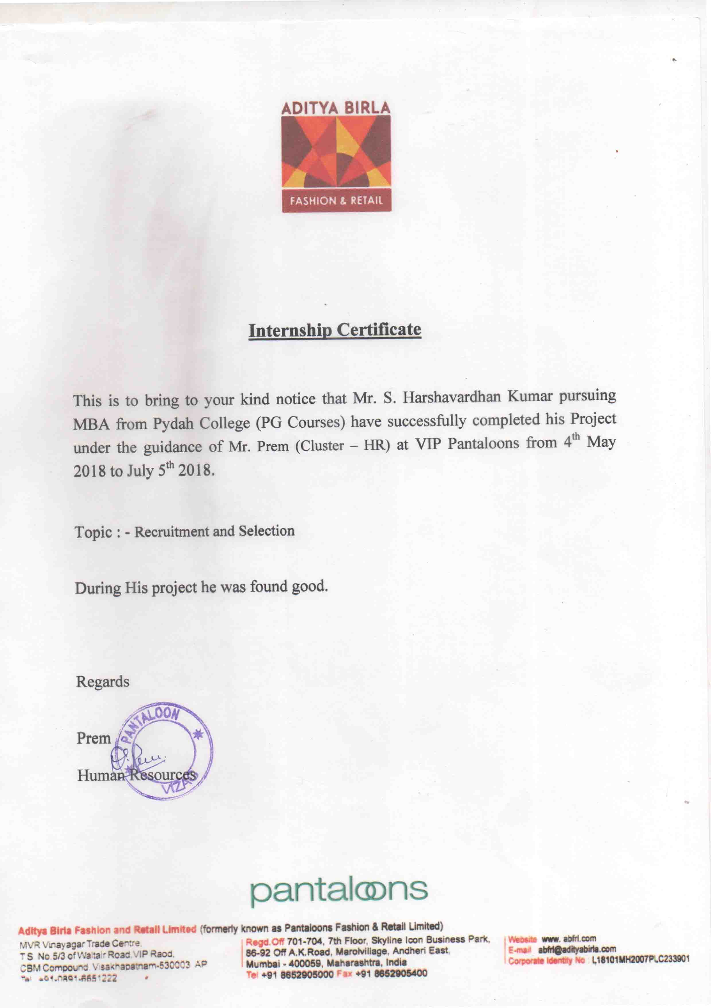 PANTALOONS PROJECT INTERNSHIP CERTIFICATE