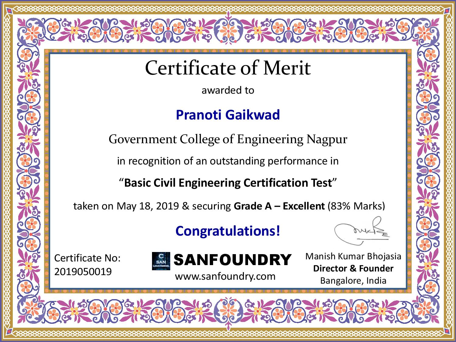Basic Civil Engineering Certification by Sanfoundry