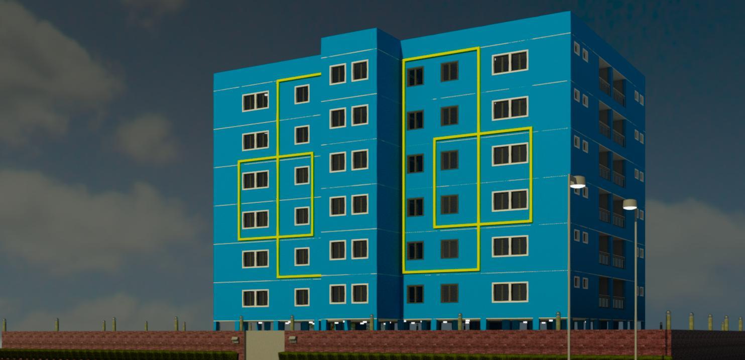 G+6 Apartment 3D view