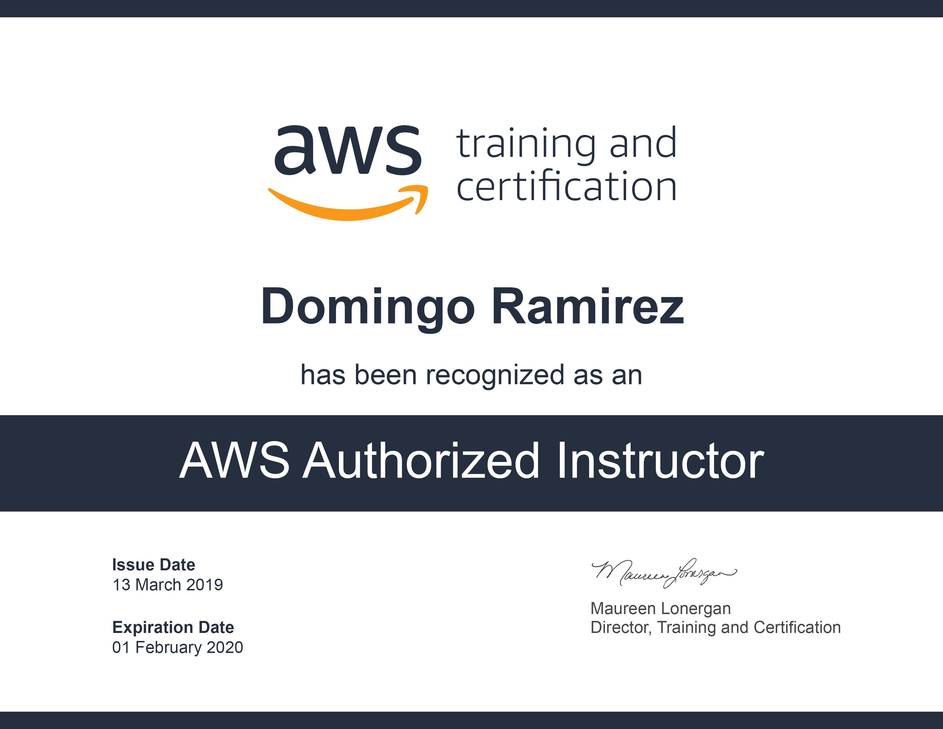 AWS Authorized Instructor 2019-2020