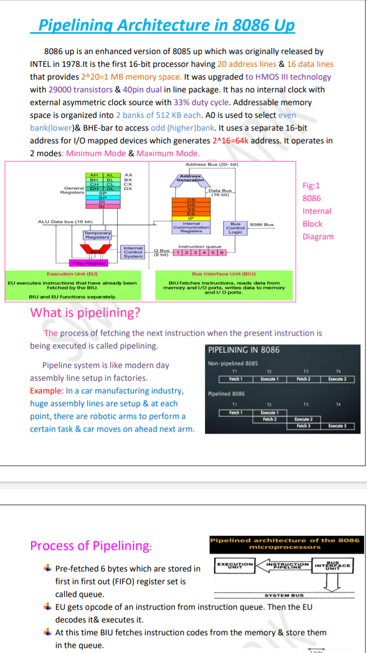 Pipelining Architecture in 8086