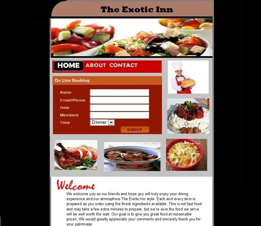 The Exotic Inn (it is restaurant website home page)