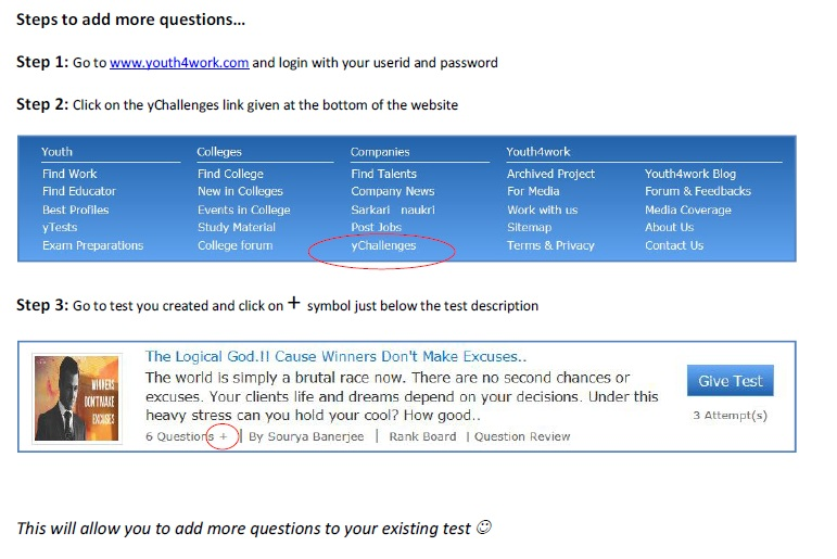 Steps to add more Questions in yChallenge