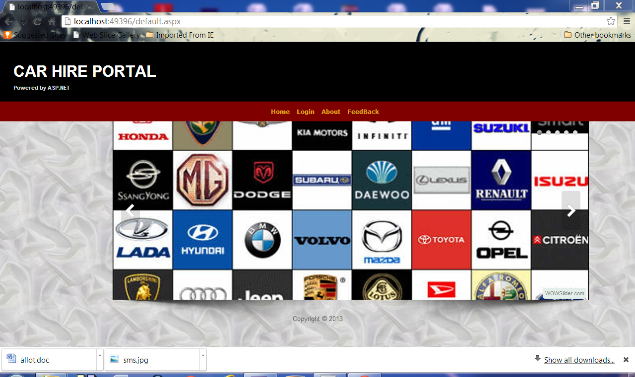 home page of my project car hire portal