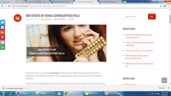 Side effects of female contraceptives
