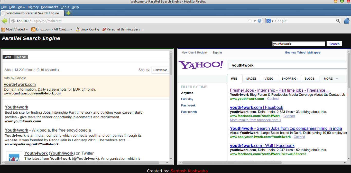 Search parallel with Google & Yahoo
