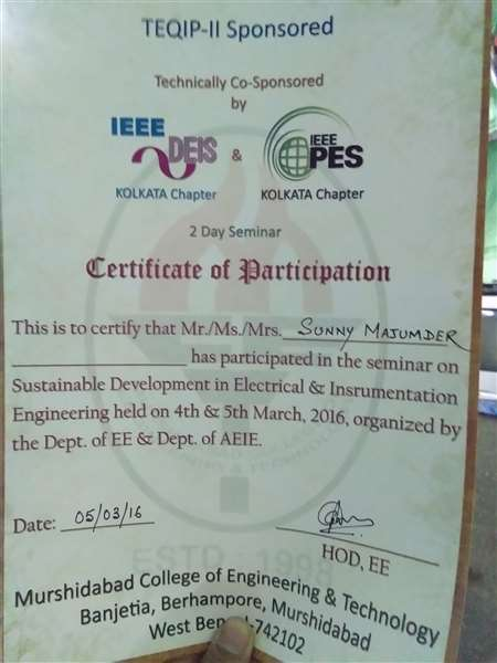 Certificate of participation in the seminar on sustainable development in Electrical and instrumentation ENGINEERING