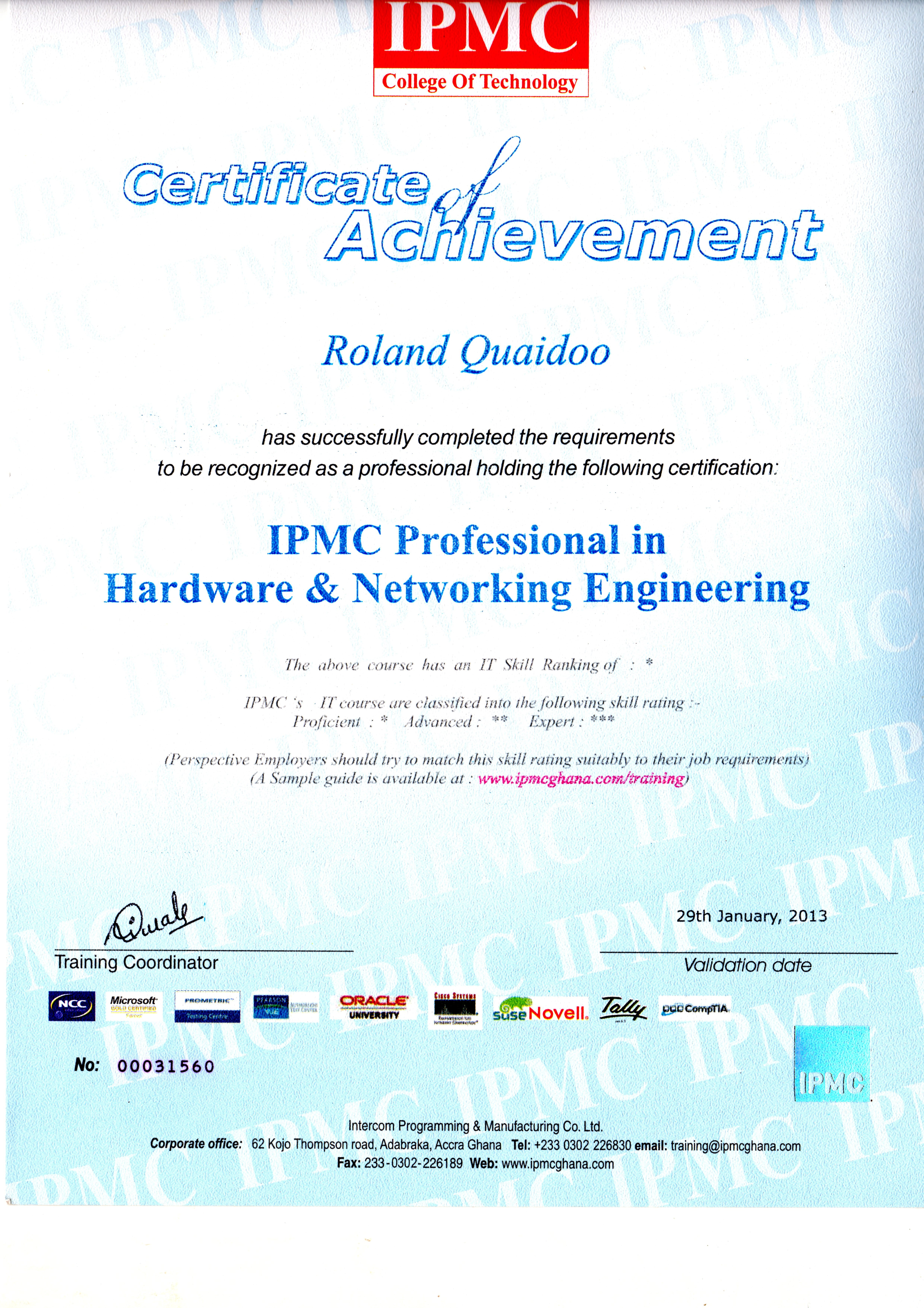 MY CERTIFICATION AS A QUALIFIED HARDWARE AND NETWORKING ENGINEER