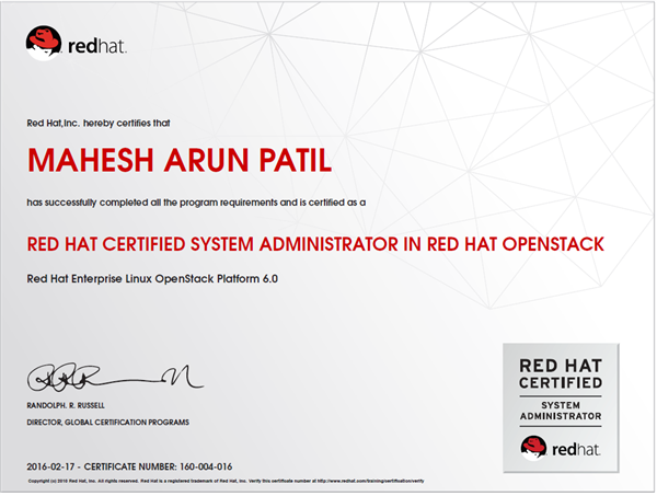 RED HAT CERTIFIED SYSTEM ADMINISTRATOR IN RED HAT OPENSTACK