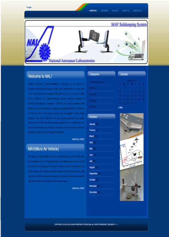 Designed website for NAL home page