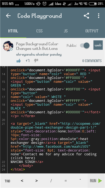 page background color change