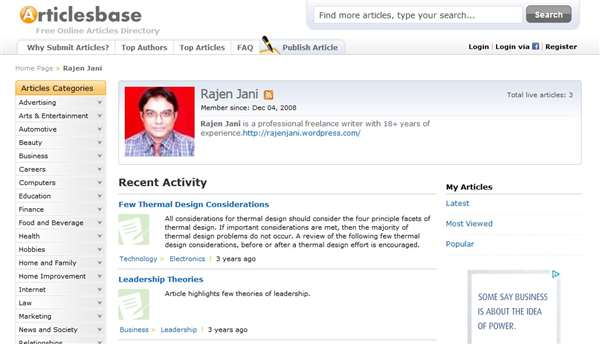 Rajen Jani is an Articlesbase contributor