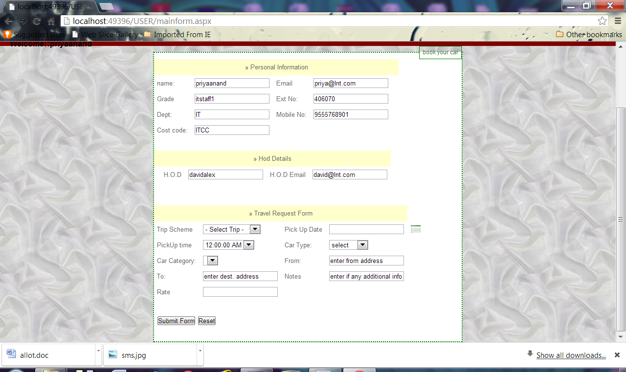 form given to user according to designation