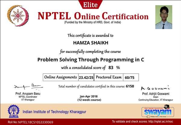 NPTEL CERTIFICATE: Problem Solving Through Programming in C