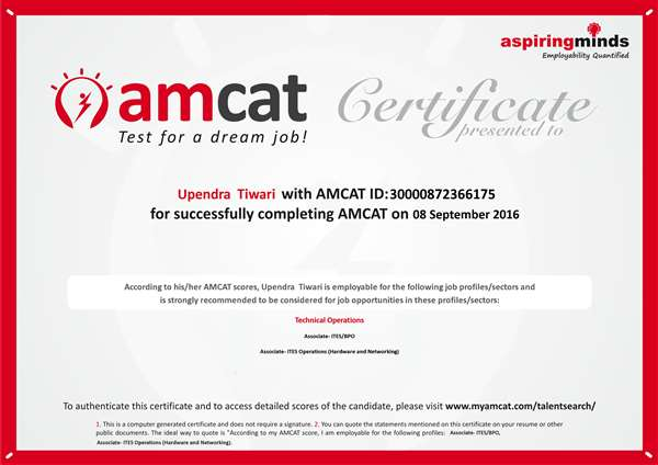 Amcat certified in technical operations