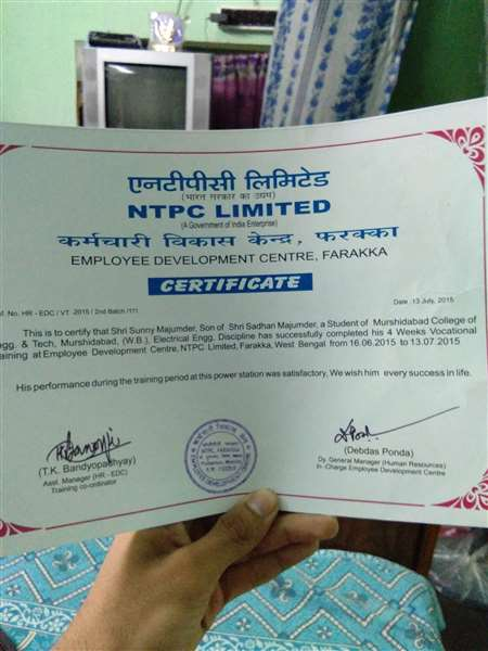Certificate on industrial summer training from NTPC LTD