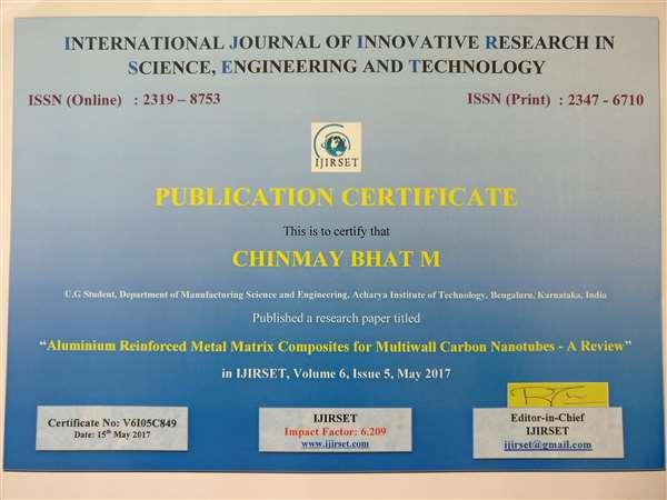 Research Journal Publication in IJIRSET