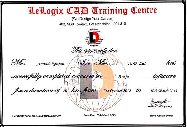 Certificate of Ansys course