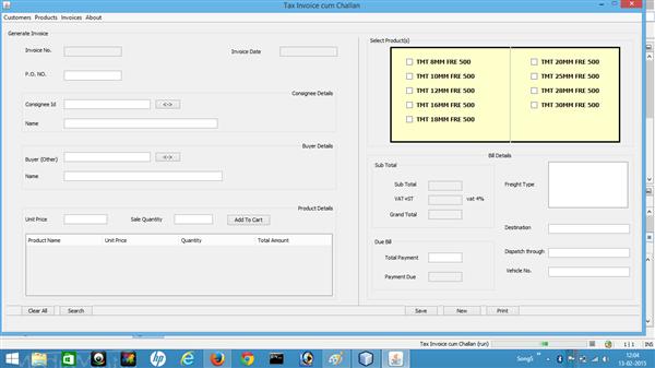 Dektop Application for Invoice Application