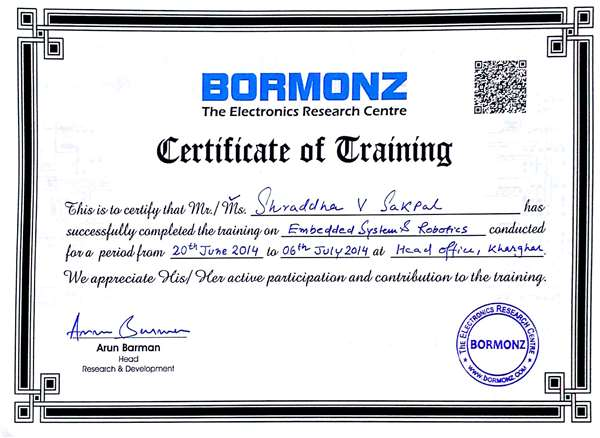 •Certification in Embedded Systems & Robotics