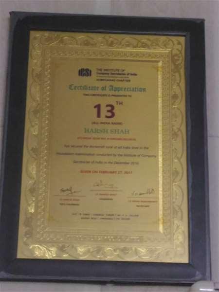 Company Secretary Appreciation Certificate.