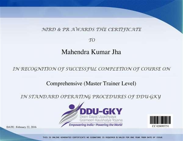DDU-GKY SOP Certificate