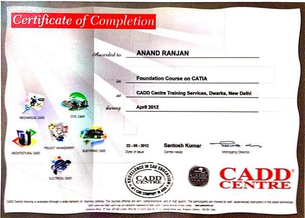 Certificate of Catia course