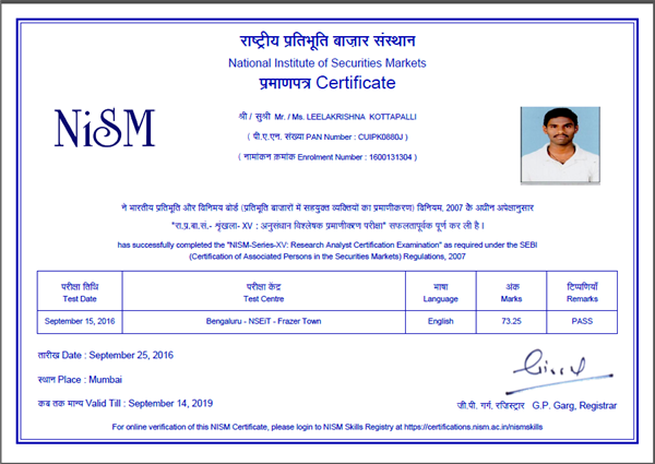 Research Analyst certification of NISM