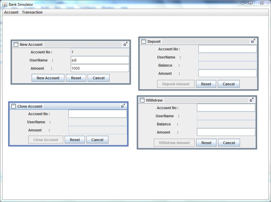 Bank Simulator (J2EE Application)