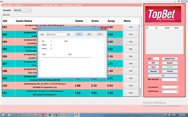Topbet Betting Sports software in java for Uganda