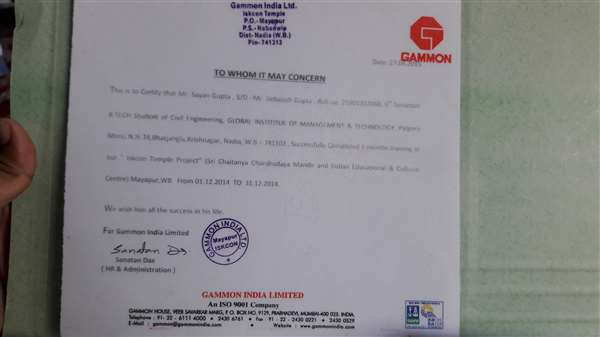 """Successfully Completed training at """"ISKON temple project"""" under GAMMON India Ltd."""