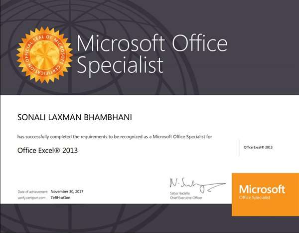 microsoft certificate for office specialist