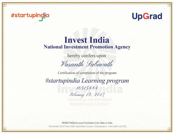 Startup India certificate
