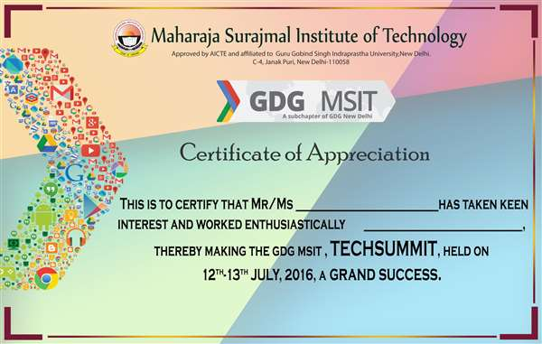 Certificate for gdg