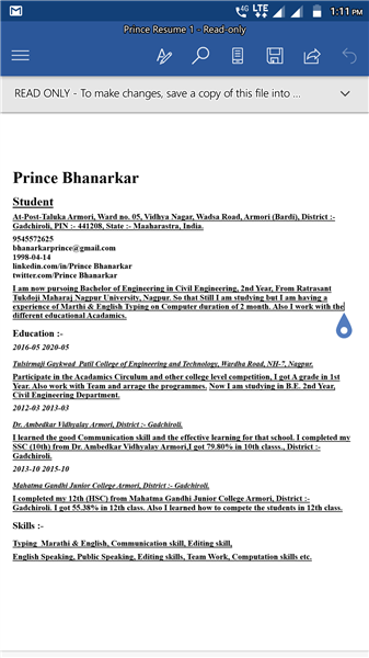 # Prince Curriculum Vitae ( Bio-data). Documents