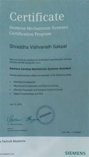 •SMSCP Level 1 Completion Certificate from Siemens India.