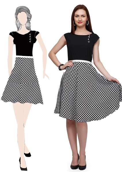 black chek dress