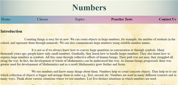 Numbers page