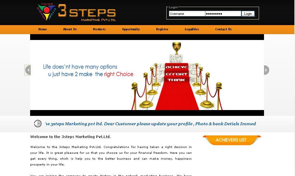 3 Steps - MLM Website