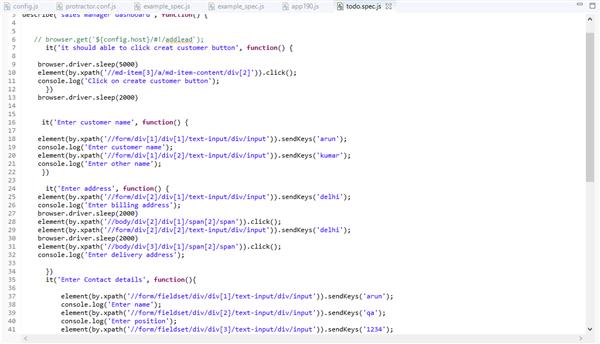 Sample Portractor Angular.JS Code